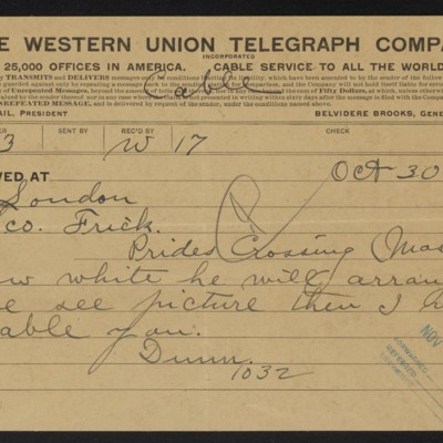 Cable from [J.H.] Dunn to [H.C.] Frick, 30 October 1912 [front]