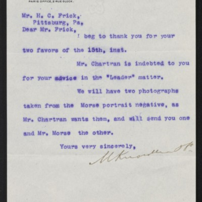 Letter from M. Knoedler & Co. to Henry Clay Frick, 17 January 1898