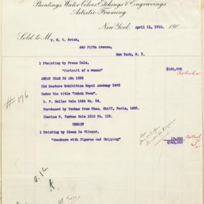 M. Knoedler & Co. Invoice, 11 April 1910
