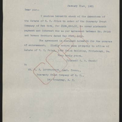 Letter from C.F. Chubb to G.T. Scherzinger, 31 January 1921