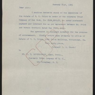 Letter from C.F. Chubb to G.T. Scherzinger, 31 January 1921