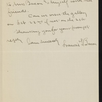 Letter from Francis Bacon to [Alice] Braddel, 3 February 1919 [page 2 of 2]