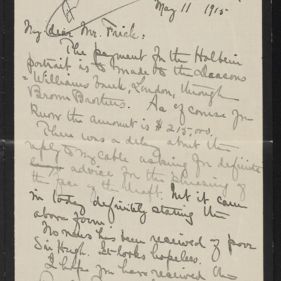 Letter from Alice B. Creelman to [H.C. Frick], 11 May 1915 [page 1 of 2]