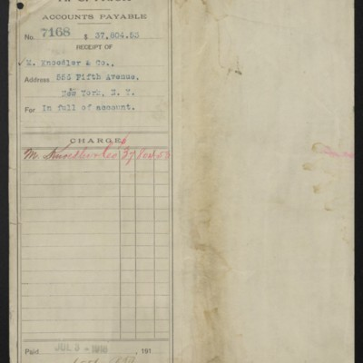Voucher from H.C. Frick to M. Knoedler & Co., 3 July 1918 [front]