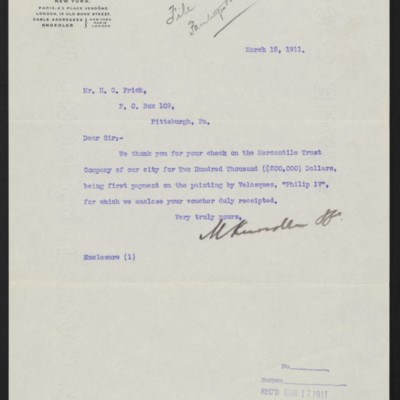 Letter from M. Knoedler & Co. to H.C. Frick, 15 March 1911