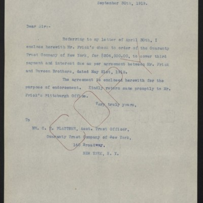 Letter from [W.J. Naughton] to C.H. Plattner, 30 September 1919
