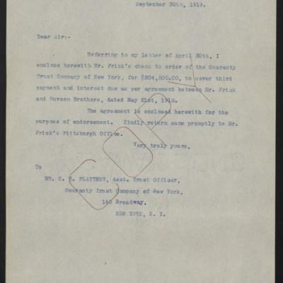 Letter from [W.J. Naughton] to C.H. Plattner, 30 September 1919