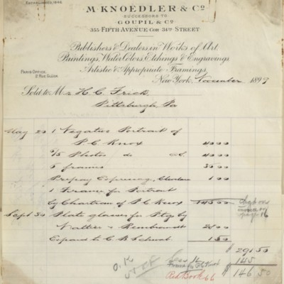 M. Knoedler & Co. Invoice, November 1899