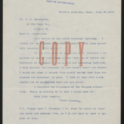 Letter from Henry Clay Frick to Charles S. Carstairs, 30 June 1908