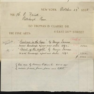 Thomas B. Clarke Invoice, 23 October 1895