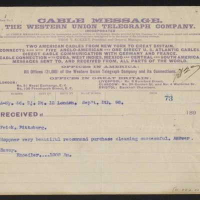 Cable from [M. Knoedler & Co.] to [Henry Clay] Frick, 5 September 1898