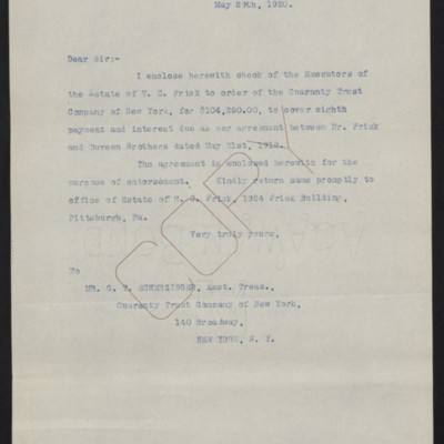 Letter from [Office of the Estate of Henry Clay Frick] to G.T. Scherzinger, 29 May 1920