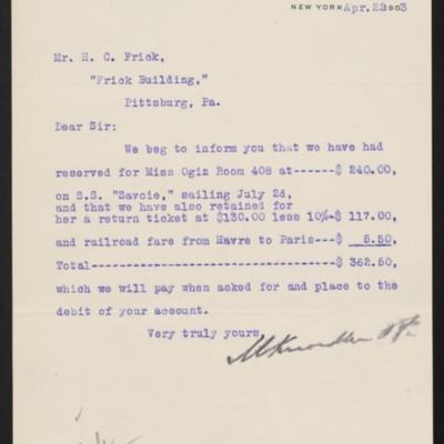 Letter from M. Knoedler & Co. to Henry Clay Frick, 22 April 1903