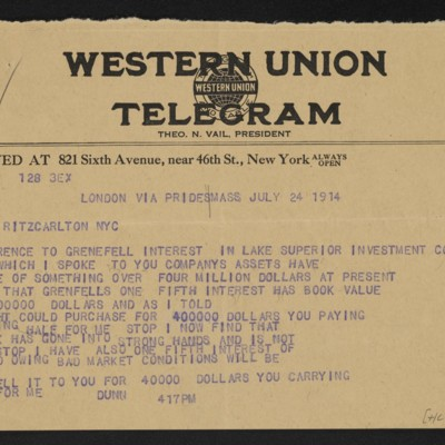 Cable from [James H.] Dunn to H.C. Frick, 24 July 1914