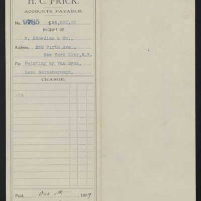 """Voucher from Henry Clay Frick to M. Knoedler & Co. for Van Dyck's """"Portrait of Frans Snyders,"""" 5 October 1909 [front]"""