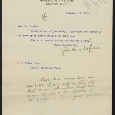 Letter from Gardiner M. Lane to H.C. Frick, 10 December 1910