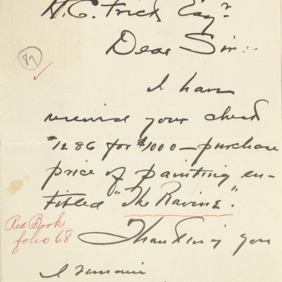 Letter from Walter Elmer Schofield to Henry Clay Frick, 29 January 1905