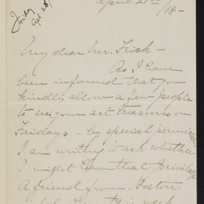 Letter from Elizabeth Mosenthal to [H.C.] Frick, 21 April 1918 [page 1 of 2]