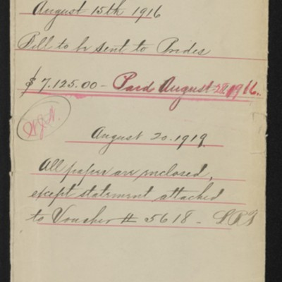 Envelope for documents re works purchased 15 August 1916, 1919