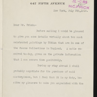Letter from Edward Brandus to Henry Clay Frick, 5 July 1918