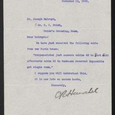 Letter from C.R. Henschel to Joseph Holroyd, 12 November 1909