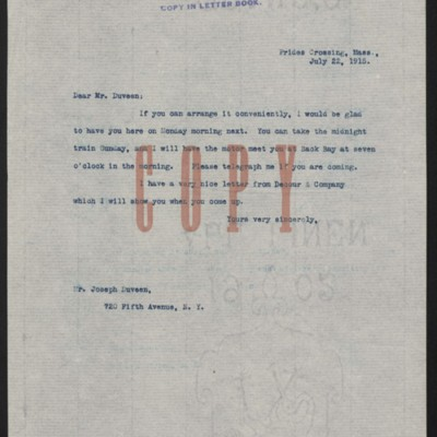 Letter from [Henry Clay Frick] to Joseph Duveen, 22 July 1915