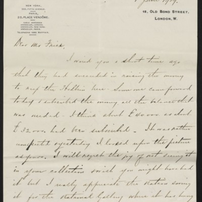 Letter from Charles Carstaris to Henry Clay Frick, 1 June 1909