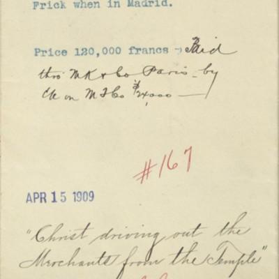Memorandum prepared by Henry Clay Frick's secretary, 15 April 1909