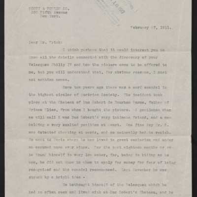 Copy of a letter from Charles Romer Williams to [Henry Clay] Frick, 27 February 1911 [page 1 of 4]