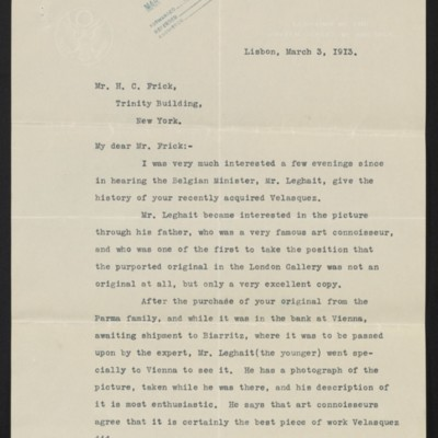 Letter from Cyrus E. Woods to H.C. Frick, 3 March 1913
