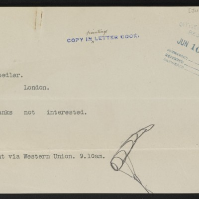 Copy of cable from [Henry Clay Frick] to M. Knoedler & Co., [7 June 1912]