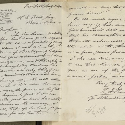 Letter from M. Knoedler & Co. to Henry Clay Frick, 11 August 1898