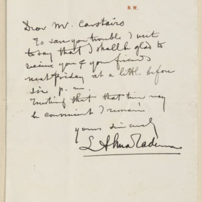 Letter from Alma-Tadema to Charles Carstairs, 18 August 1897