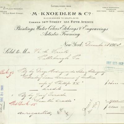 M. Knoedler & Co. Invoice, 24 December 1908