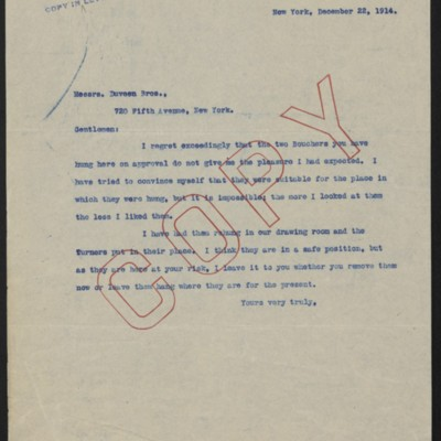 Letter from [Henry Clay Frick] to Duveen Brothers, 22 December 1914