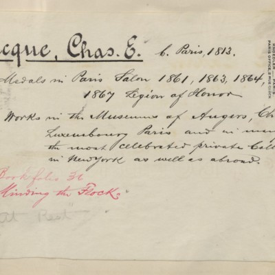 Jacque biography prepared by M. Knoedler & Co., circa 1895