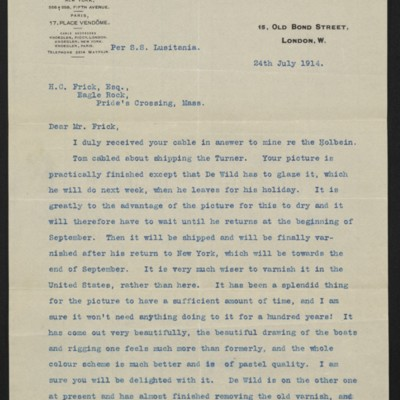 Letter from C.S. Carstairs to H.C. Frick, 24 July 1914 [page 1 of 3]