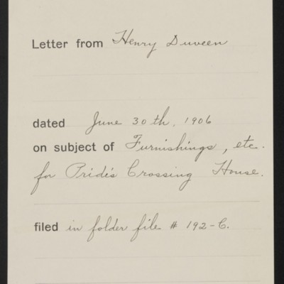 Memorandum, Office of Henry Clay Frick, 30 June 1906