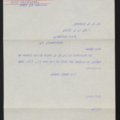 Letter from M. Knoedler & Co. to F.W. McElroy, 17 December 1914 [back]