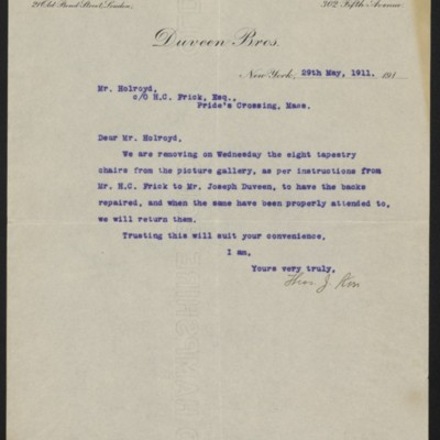 Letter from Duveen Brothers to J. Holroyd, 29 May 1911