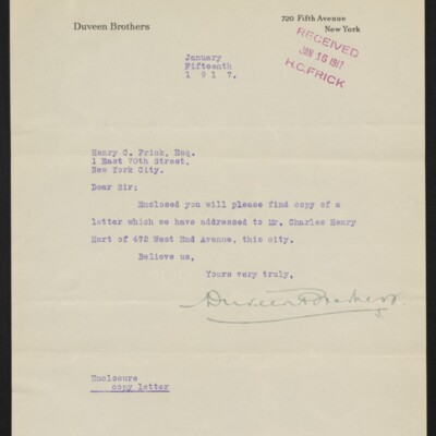Letter from Duveen Brothers to Henry C. Frick, 15 January 1917