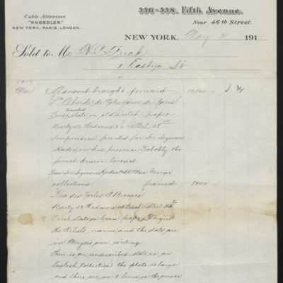Invoice from M. Knoedler & Co. to Henry Clay Frick, 31 May 1917 [page 4 of 4]