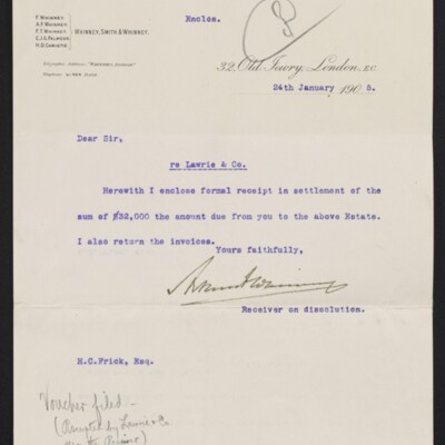 Letter from Whinney, Smith & Whinney to H.C. Frick, 24 January 1905