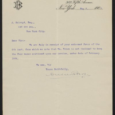 Letter from Duveen Brothers to J. Holroyd, 7 May 1907