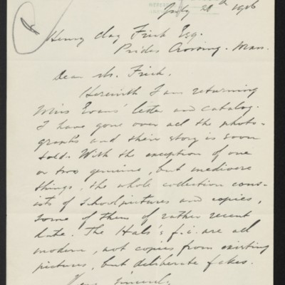 Letter from C.F.L. de Wild to Henry Clay Frick, 28 July 1916