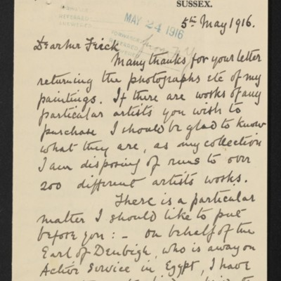 Letter from A.E. Stanley Clarke to [Henry Clay] Frick, 5 May 1916, wih enclosure