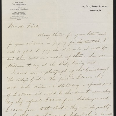 Letter from Charles S. Carstairs to Henry Clay Frick, 9 September 1908