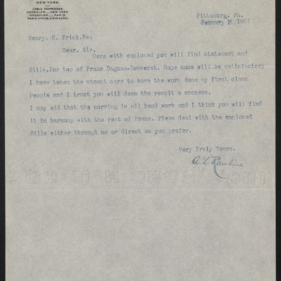 Letter from A.L. Rawlins to Henry Clay Frick, 2 February 1901