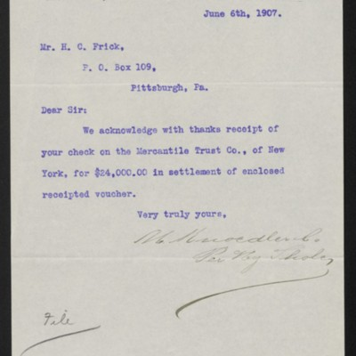 Letter from M. Knoedler & Co. to Henry Clay Frick, 6 June 1907