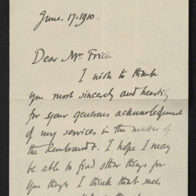 Letter from Roger E. Fry to [Henry Clay] Frick, 17 June 1910